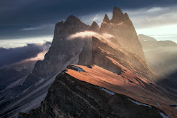 Super Dark Mountains with Light of The Sun