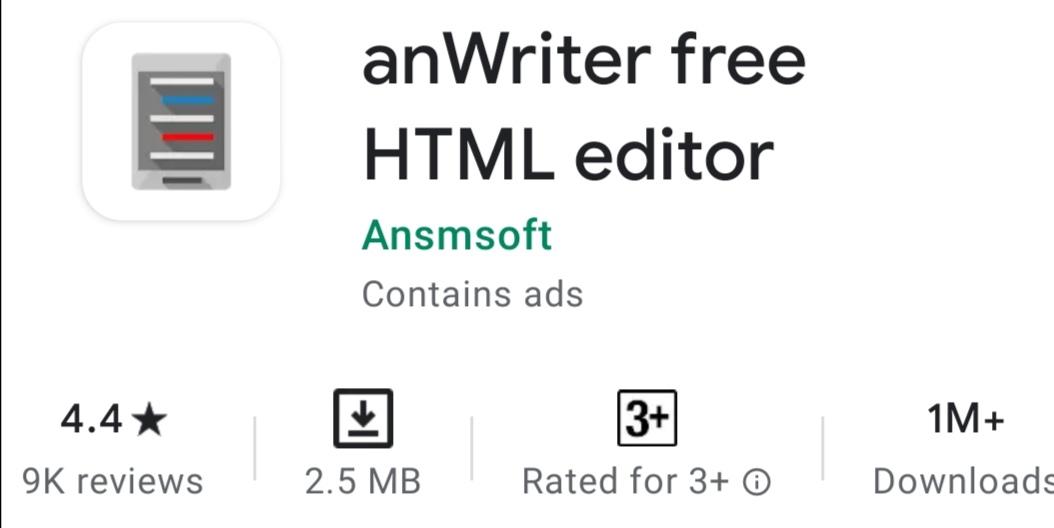 anWritter Free HTML Editor