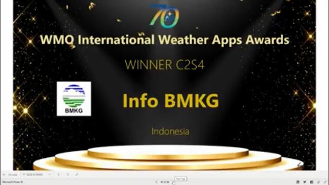 Info BMKG Raih Penghargaan internasional WMO Award 2020