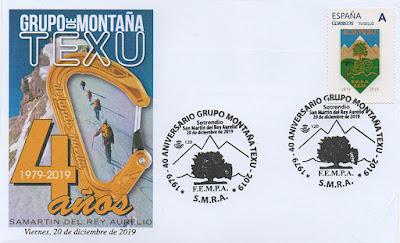 Sobre del matasellos del 40 Aniversario del Grupo de Montaña Texu de San Martín del Rey Aurelio