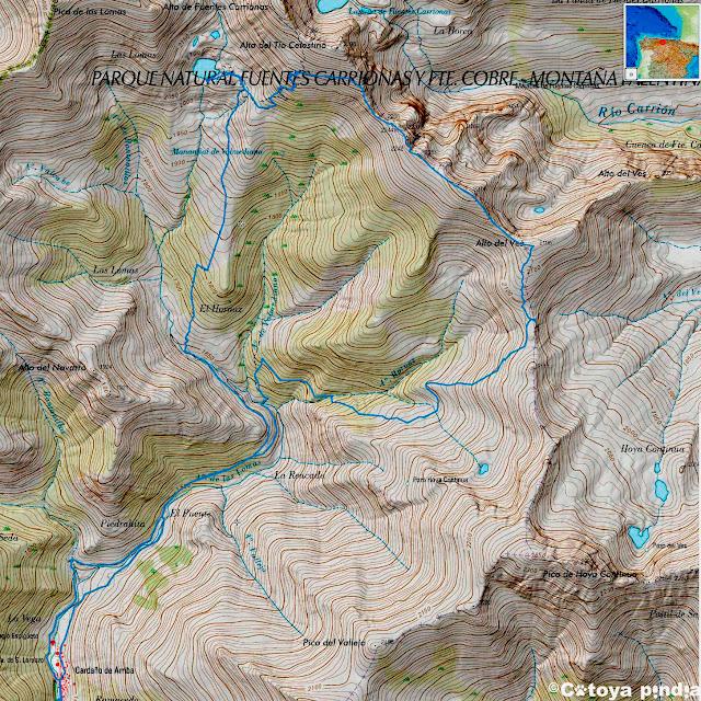 Mapa IGN de la ruta señalizada al Pozo de las Lomas en circular desde Cardaño de Arriba en la Montaña Palentina,