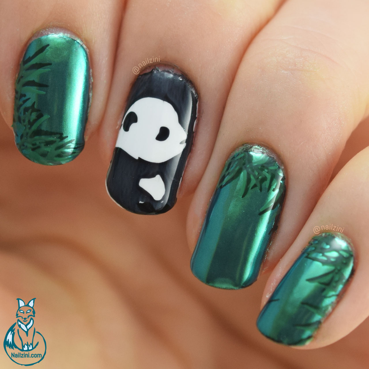 Panda Mirror Nail Art without gel Nailzini