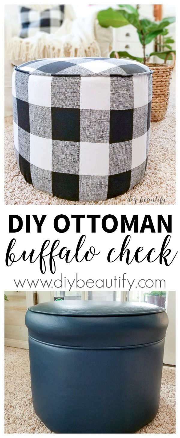 buffalo check covered ottoman before and after | diybeautify.com