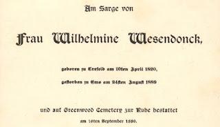 Worte gesprochen am Sarge von Frau Wilhelmine Wesendonck, 1889