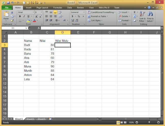 Cara Menentukan Nilai Mutu dengan Fungsi IF di Microsoft Excel