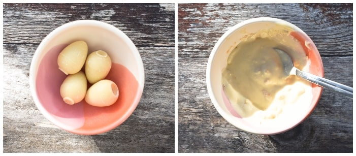 Making raspberry & white chocolate cupcakes - step 7 - white chocolate eggs melted in a small bowl