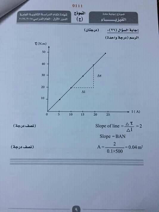 نموذج إجابة امتحان فيزياء الثانوية العامة 2019 الرسمي بتوزيع الدرجات -----9