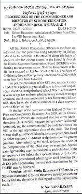 DIRECT ADMISSIONS Director orders to admit students up to 8th class without any entrance exams RC NO: 247 / E1-2 / 2010 DATE: 15.06.2010