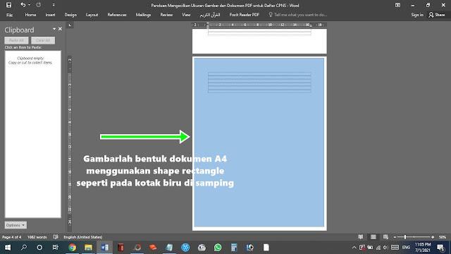 Gambarlah Bentuk Dokumen A4 Menggunakan Shape Rectangle