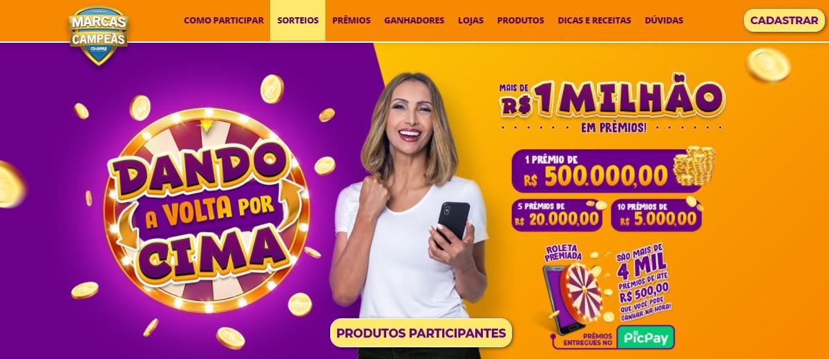 Promoção Dando a Volta Por Cima Marcas Campeãs 500 Mil Reais e Prêmios na Hora - Cadastrar Roleta Premiada