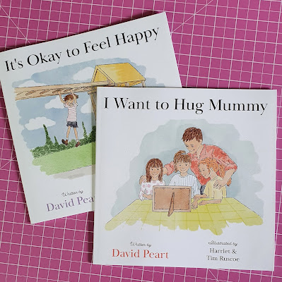 Books For Bereaved Younger Children Review - It's Okay To Be Happy and I want to hug Mummy book covers