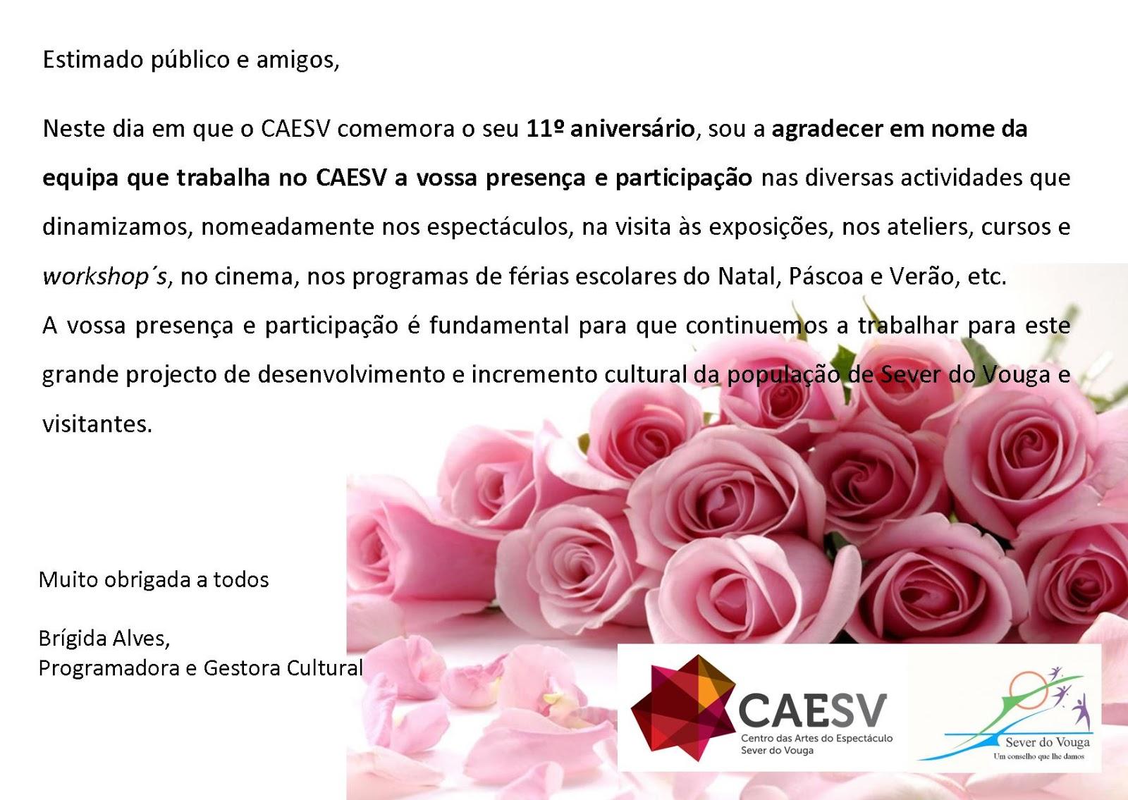 AGRADECIMENTO AO PÚBLICO- 11º ANIVERSÁRIO DO CAESV