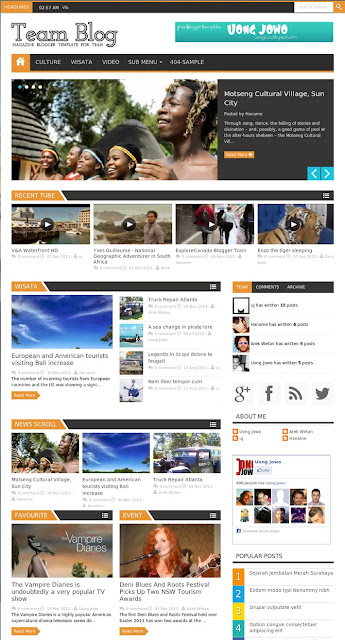 Team Blog Responsive Magazine Blogger Template for Team