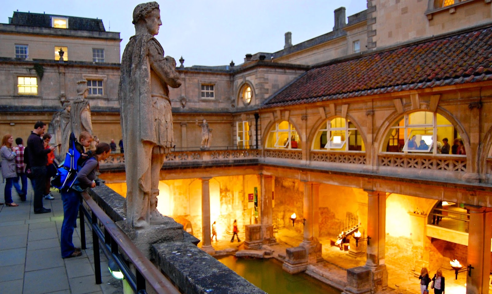Viewing the Roman baths from the Victorian-era balcony