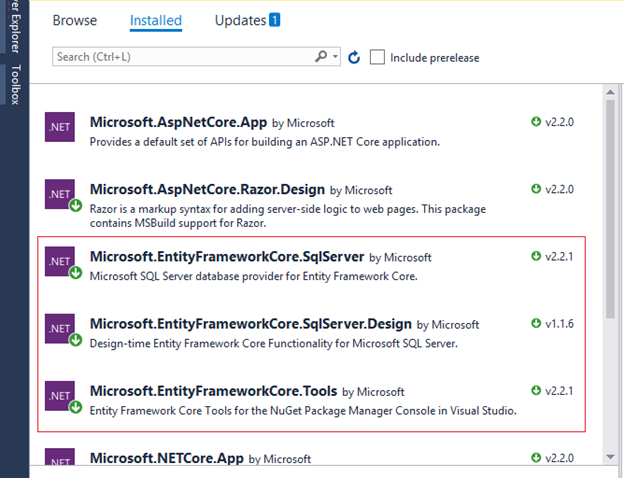 Setting up Entity Framework Core for MVC Database First Application