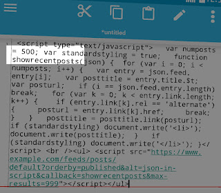 JS code copied to text editor