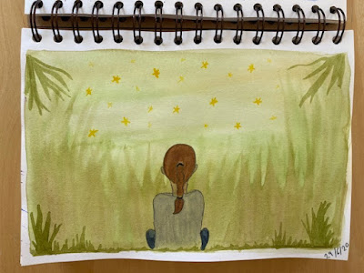 Watercolour child from behind in meadow