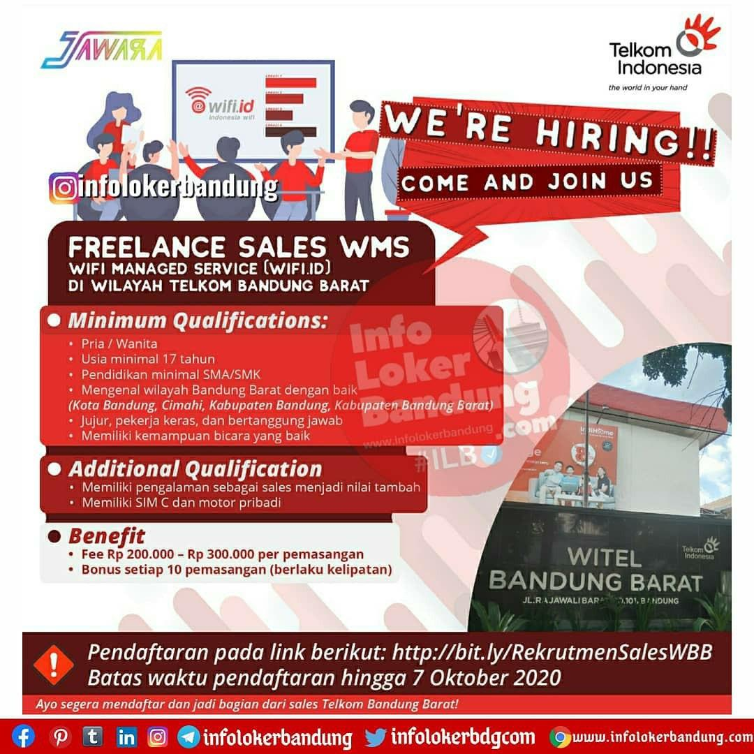 Lowongan Kerja Freelance Sales WMS di Wilayah Telkom Bandung Barat Oktober 2020