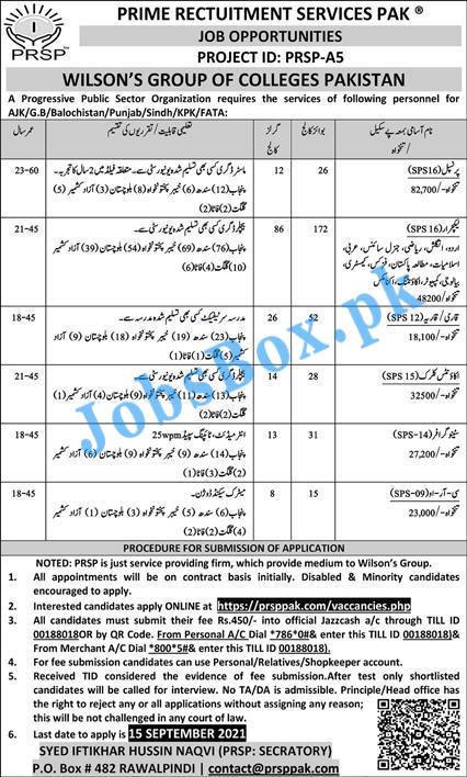 Wilson Group of Colleges Pakistan Jobs 2021 via PRSP (483+ Vacancies)