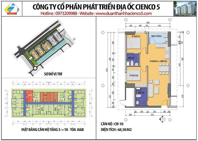 Mặt bằng căn hộ CH10 tầng 3-18 tòa HH02A&B