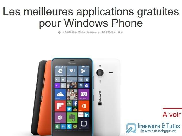 Le site du jour : Les meilleures applications gratuites pour Windows Phone