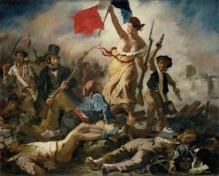 Pintura histórica romántica. Conmemora la Revolución francesa el 28 de Julio de 1830.