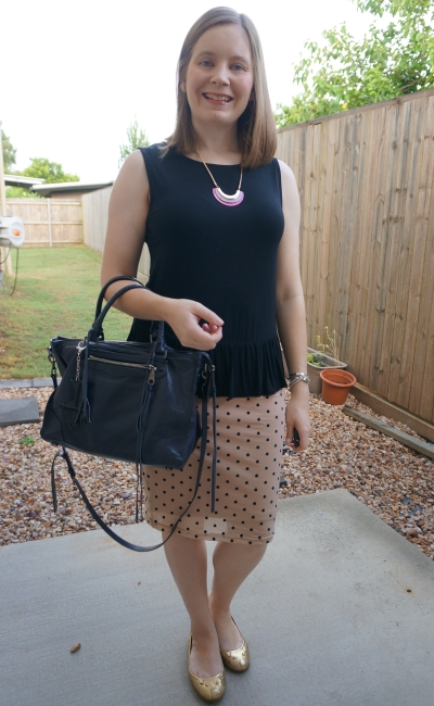 black peplum tank with blush pink polka dot pencil skirt and Rebecca Minkoff Regan satchel | away from blue