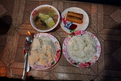 Kalami Cebu typical bakagan dinner includes soup, spring rolls and corn grits
