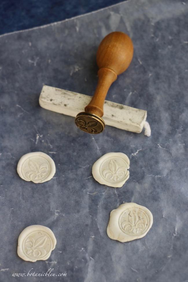 DIY Easter Paper Cone fleur de lis wax seals