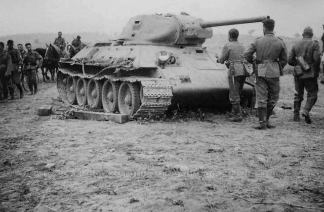 A destroyed Soviet T-34 tank worldwartwo.filminspector.com