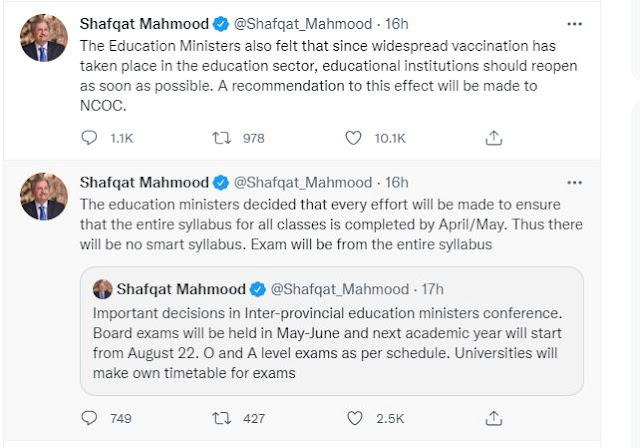 All Matric and Intermediate Students Will Pass - Government Has Announced