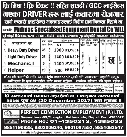 Free Visa Free Ticket Jobs in Qatar for Nepali, Salary Rs 53,960