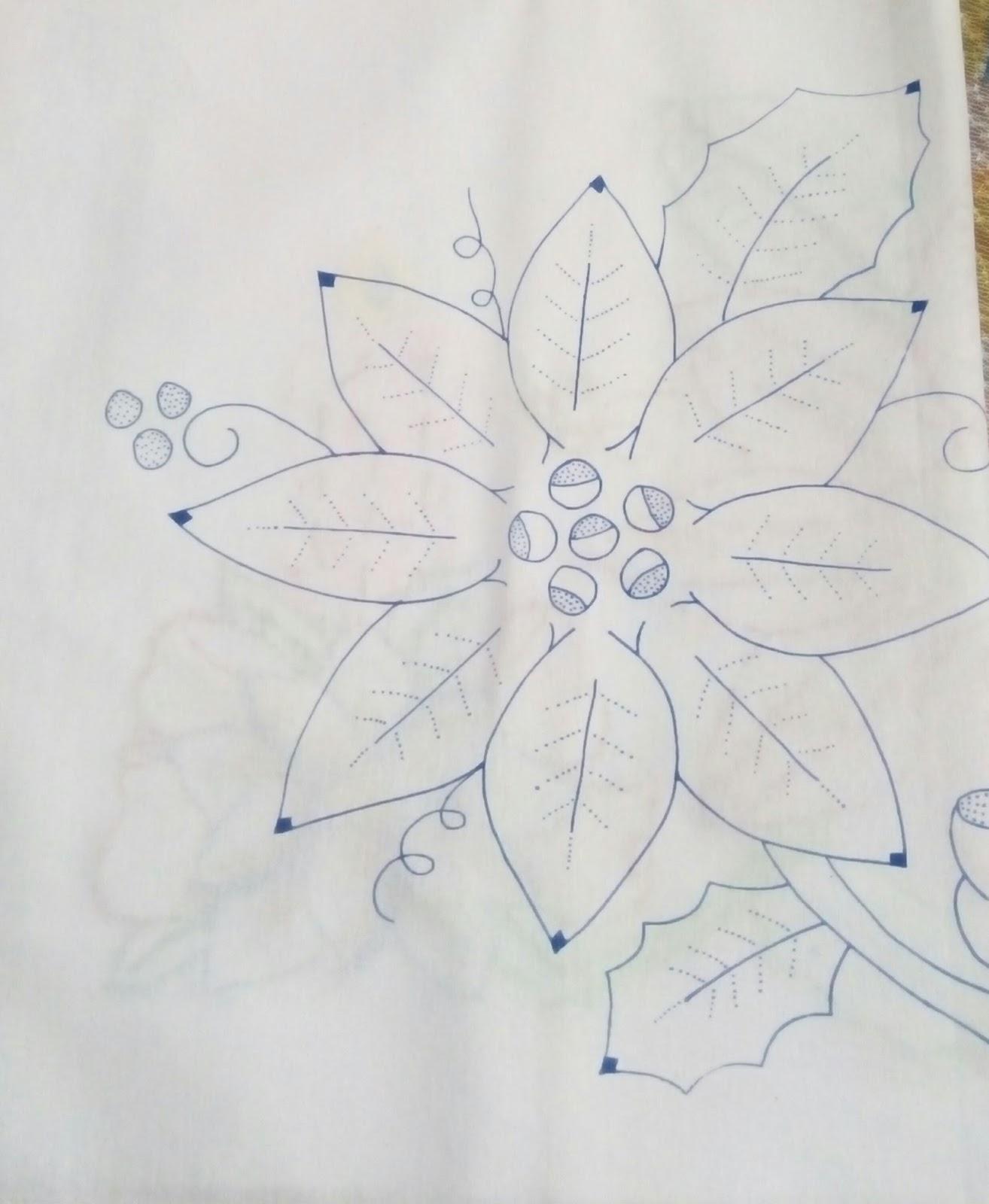 Bordados Y Puntillas De Miky Ru Dibujo Flor De Noche Buena