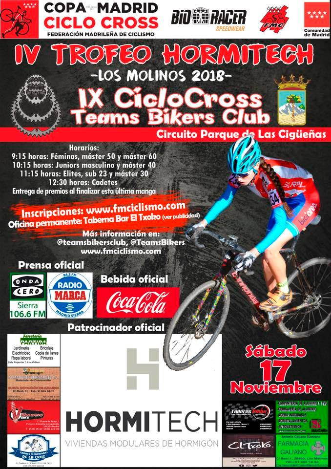 Los ciclocrossistas vuelven a Los Molinos a disputar el Trofeo Hormitech