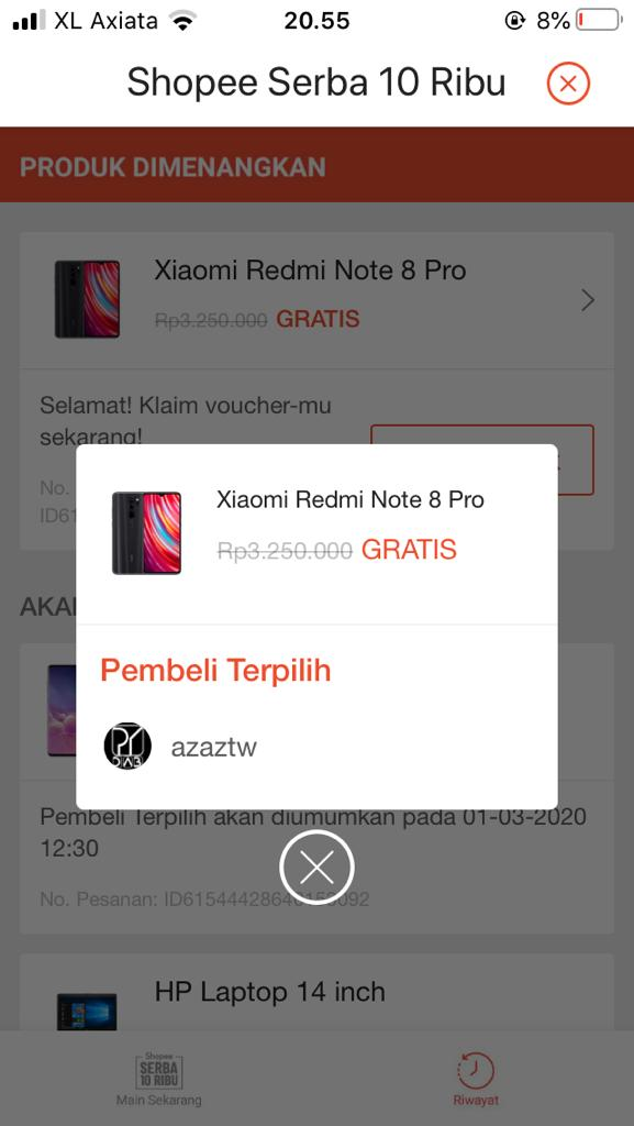 Menang Xiaomi Redmi Note 8 Seharga 10 Ribu Rupiah dari Shopee