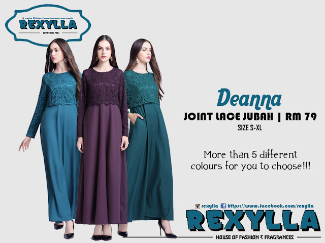 rexylla, lace jubah, joint lace jubah, deanna collection