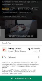 metode pembayaran kursus via aplikasi udemy