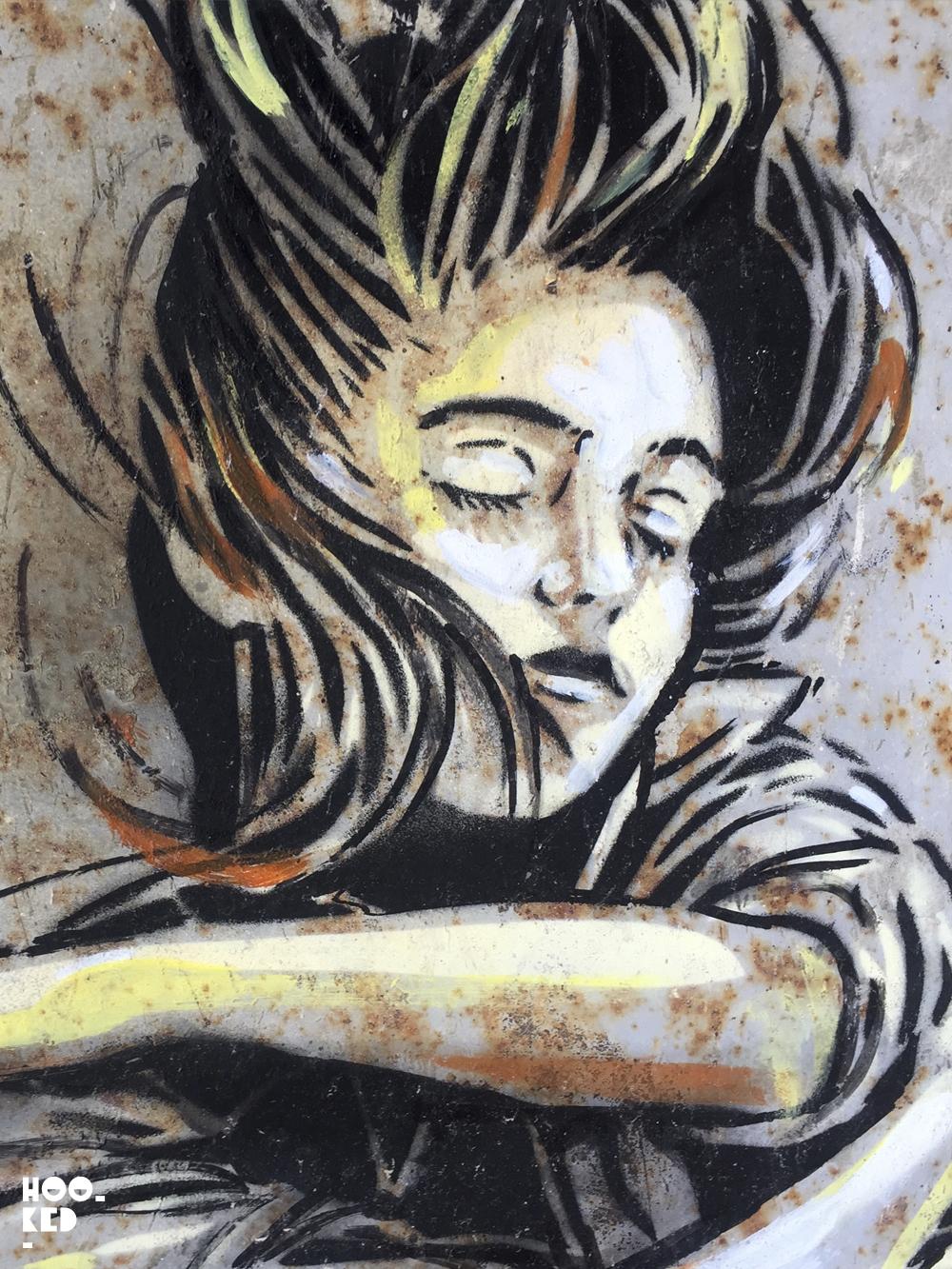 Italian Street Artist Alice Pasquini stencil work in Civitacampomarano