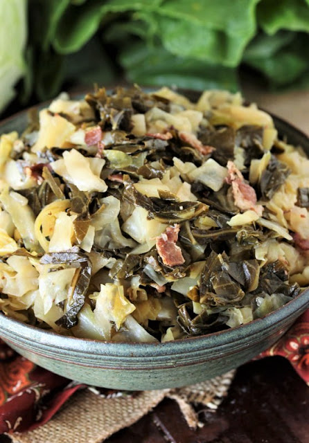 Bowl of Southern Collards & Cabbage Mixed Greens Image