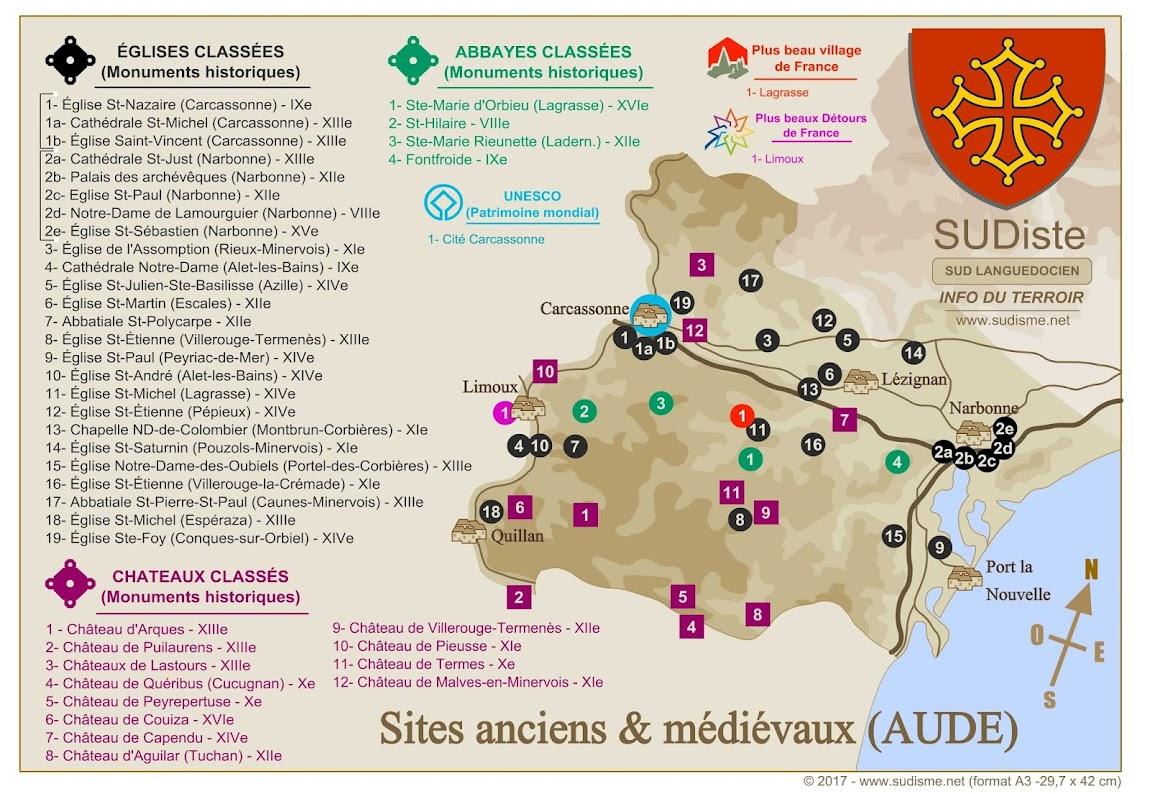 Monuments historiques dans l'AUDE