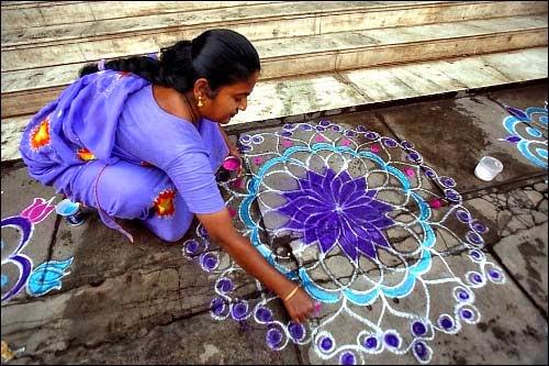 kolams, dibujar, rangoles, hindú, artesanías, pintar, tradiciones