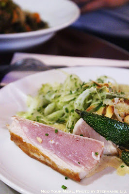 White Tuna, Puree Fennel Confit, Grilled Zucchini, Crispy Salad with Lemon & Roasted Almonds at Juveniles in Paris