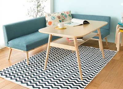 Simple decorating ideas neat living room rugs with black and white herringbone pattern from Rakuten