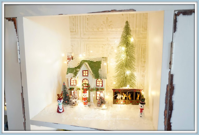 French -Farmhouse- Cottage -White -Dining- Room -Cabinet-Christmas-Whimsical- Vignettes-Santa-Ornaments-From My Front Porch To Yours