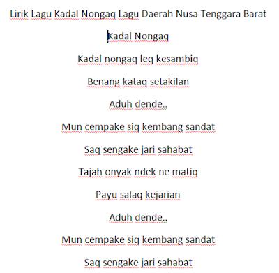 Lirik Lagu Kadal Nongaq Lagu Daerah Nusa Tenggara Barat