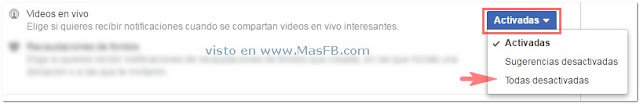 Configuración Notificaciones Videos en Vivo Facebook - MasFB