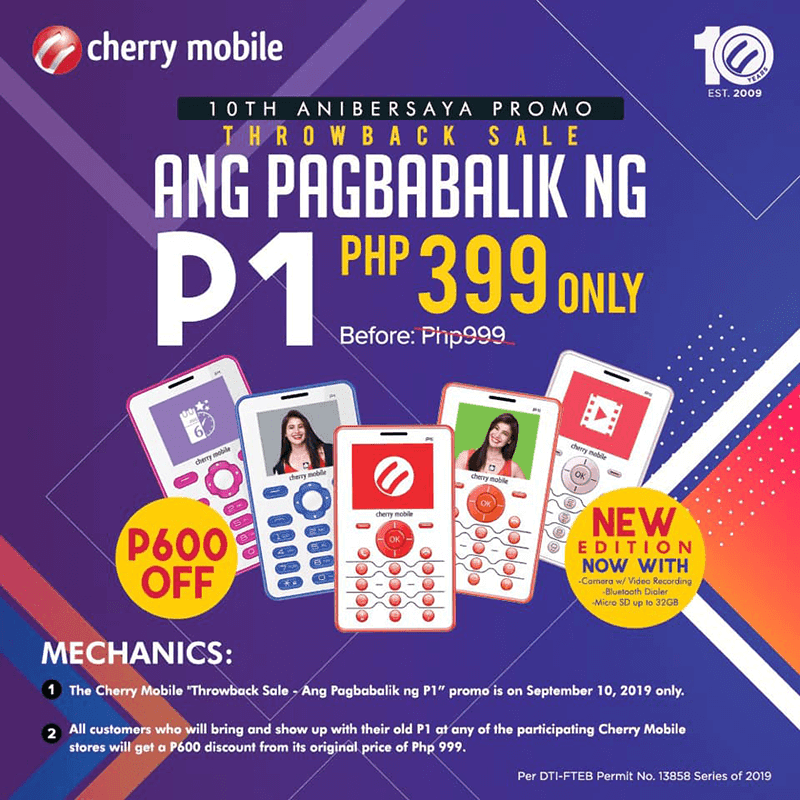 Cherry Mobile outs P1 2019, announces PHP 399 special promo on September 10