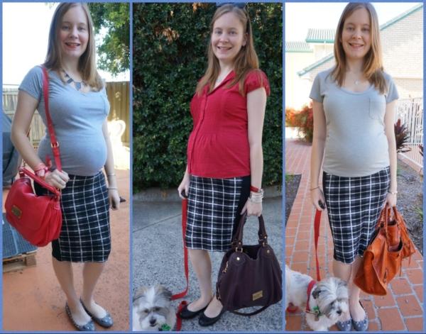 AwayFromBlue | Second Trimester OfficeWear Asos tartan maternity pencil skirt
