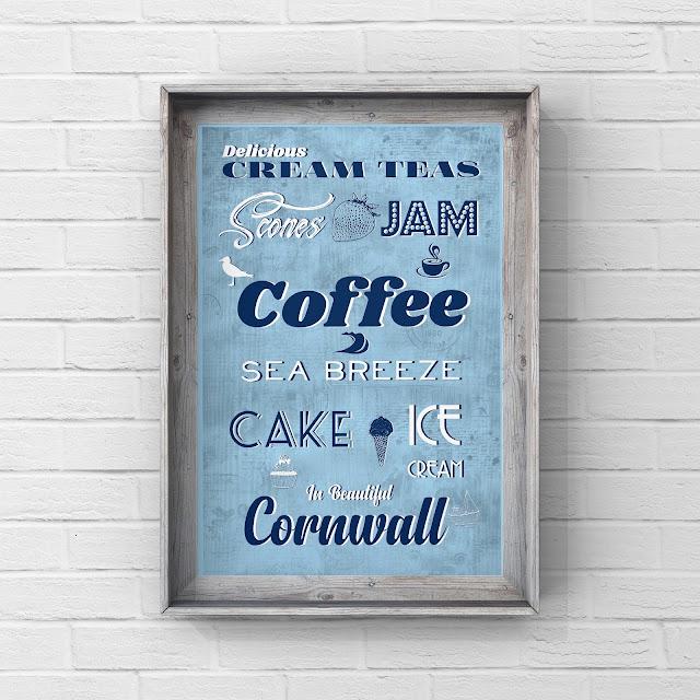 Cornish Cream Tea retro sign