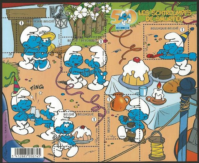 2008 Belgium The Smurfs Minisheet